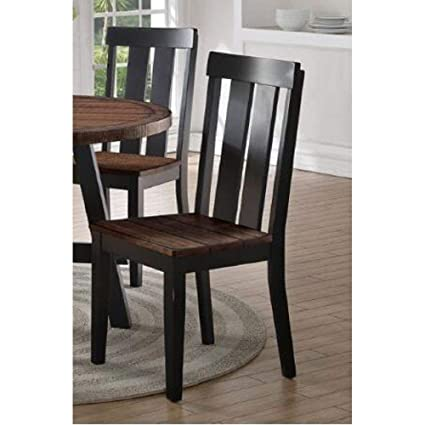 Set Of 4 Modern Dark Brown Rubber Wood Dining Chairs With Textured Hues Of  Distressed Wood