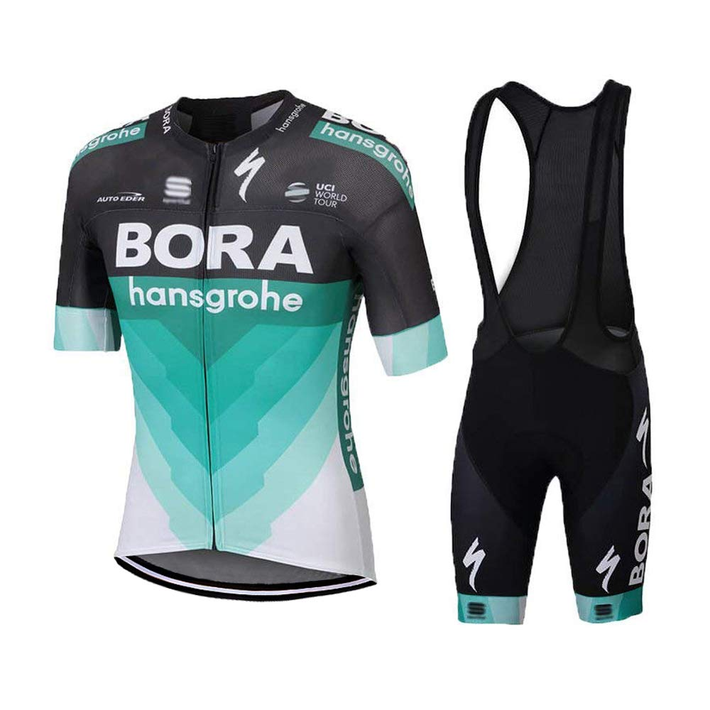 LOGASMART Men's Cycling Jersey Short Sleeve Bike Jersey and Quick Dry Bib Shorts Set by LOGASMART