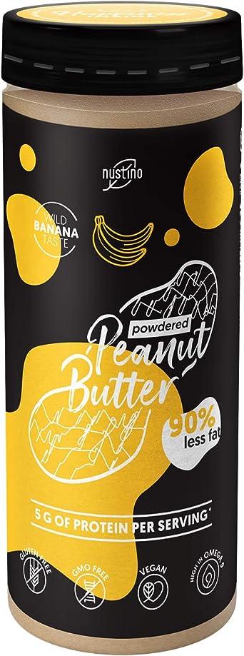 Nustino Powdered Peanut Butter Banana   Nustino Mantequilla de Maní   Mantequilla de Cacahuetes con plátano liofilizado   90% menos grasa   Alto ...