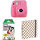 "Fujifilm Instax Mini 9 Flamingo Rosa + Doppelpackung 2x 10 Mini Instant Film + Mini Fotoalbum ""Melons"""