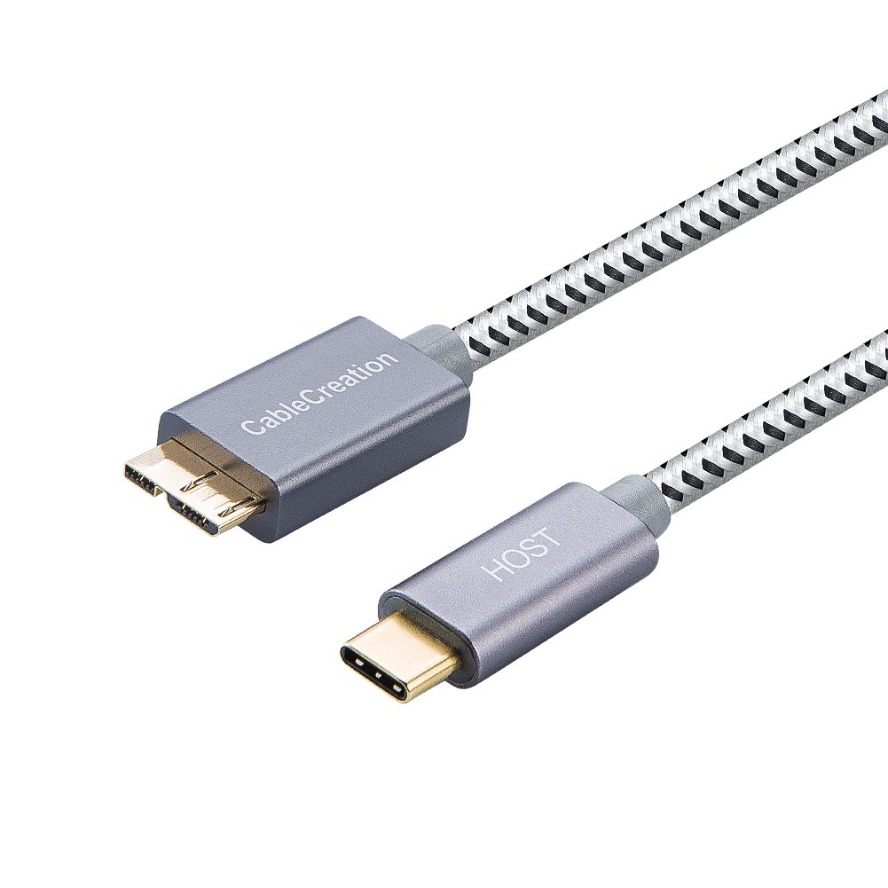 USB C to Micro-B 3.0 (Gen 2/10G), CableCreation 1ft Micro USB 3.1 Type C Braided Cord, Compatible MacBook (Pro), HDD External Hard Driver & Samsung S5, 0.3M/ Gray