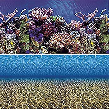 Vepotek Aquarium Background Ocean Seabed /Coral Reef Double sides (24WX24H)