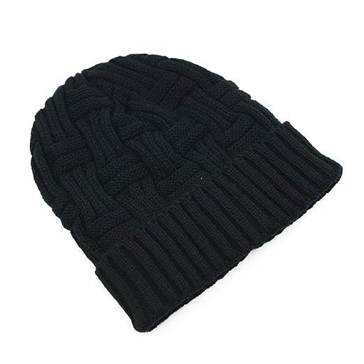 377b03b730e Amazon.com  American Trends Warm Chunky Beanie for Women   Men Wool  Knitting Hat Soft Baggy Slouchy Hats Skull Cap Classic Black  Clothing