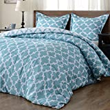 Teal King Size Comforter Sets downluxe Lightweight Printed Comforter Set (King,Teal) with 2 Pillow Shams - 3-Piece Set - Hypoallergenic Down Alternative Reversible Comforter