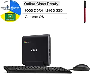 Acer Chromebox CXI3 Mini PC Desktop Computer, Intel Celeron 3867U 1.8GHz, 16GB DDR4, 128GB SSD, Online Class Ready, USB Type-C, Chrome OS, Keyboard and Mouse Included, BROAGE 64GB Flash Drive