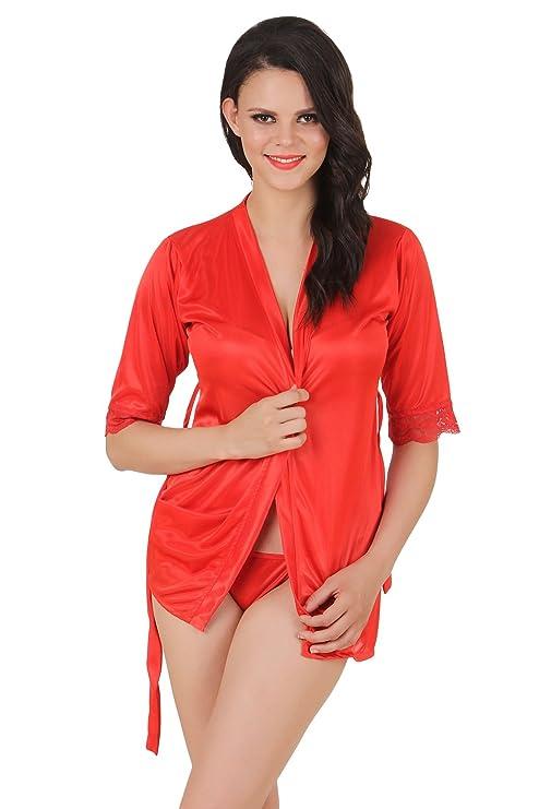 Fasense Exclusive Women Satin Nightwear Sleepwear Babydoll 2 Pc Set of Wrap Gown & Thong DP143 Nightdresses & Nightshirts at amazon