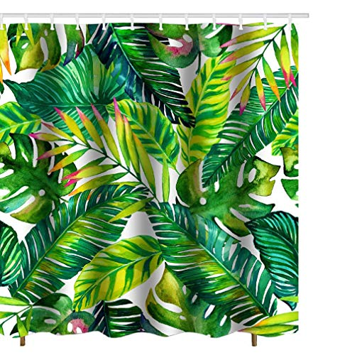 - Get Orange Green Banana Brightness Leaves Decor Waterproof Fabric Polyester Shower Curtain Decor Set with Hooks 72X72 Inches