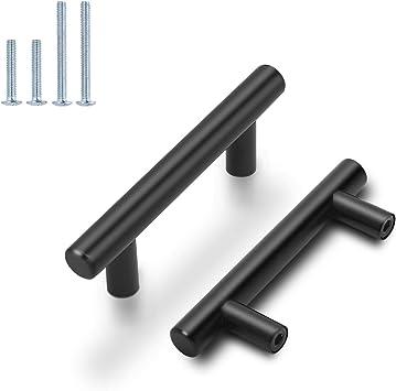 Black Modern Cabinet Handles T Bar Pulls Kitchen Drawer Hardware Stainless Steel