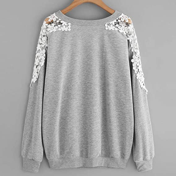 Amazon.com: AMSKY❤Pullover Sweatshirt,Women Blouse Solid Color Lace Print Long-Sleeved Round Neck Sweater Casual Blouse Tops: Clothing