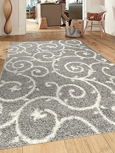 Cozy Contemporary Scroll L.Grey-White 7 10 X 10 Indoor Shag Area Rug