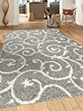"""Rugshop Cozy Contemporary Scroll Indoor Shag Area Rug, 7'10"""" x 10', Light Gray/White"""