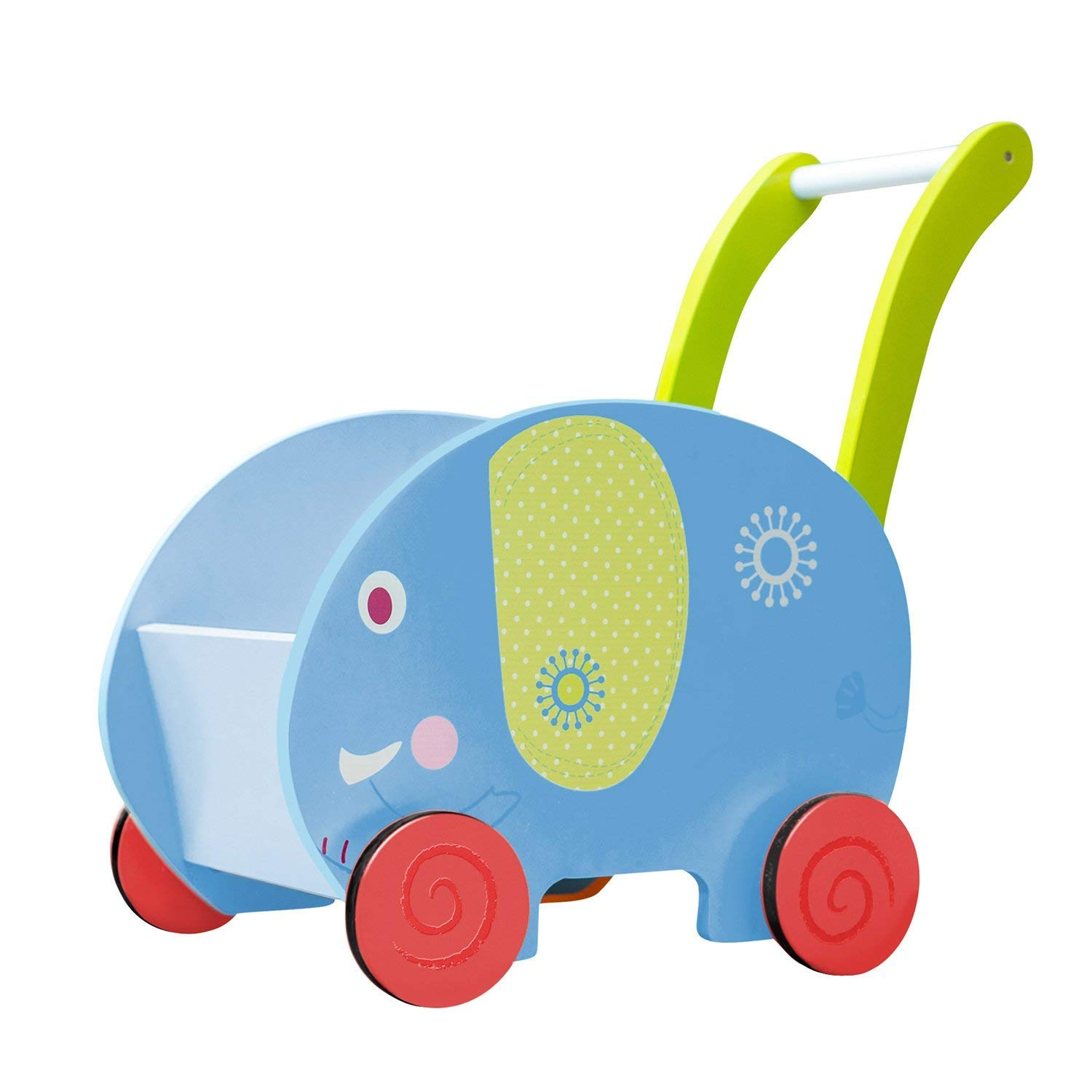 Toddler Sit-to-Stand Walking Toy Wooden Push and Pull Baby Walker with Wheels and Storage for 1 Year up Kids - Blue Elephant