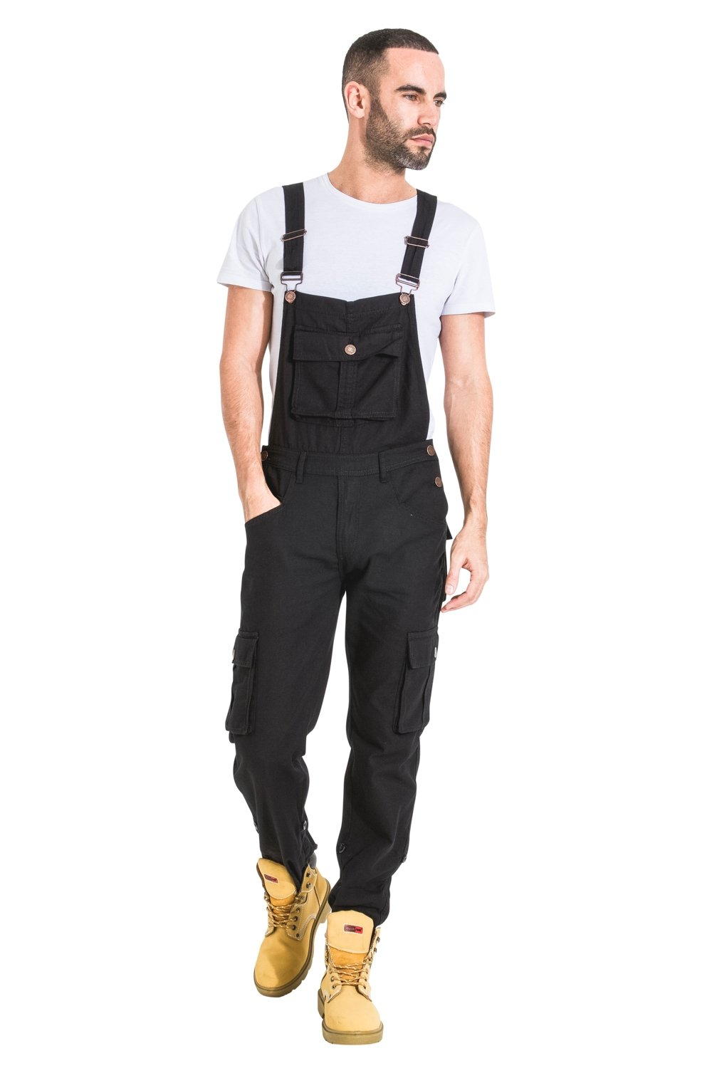 USKEES Bill Mens Bib Overalls - Black Roll-up leg mens denim overalls