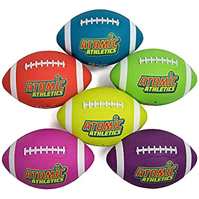 K-Roo Sports Atomic Athletics 6 Pack of Neon Rubber Playground Footballs - Regulation Size 9, 11.5