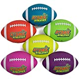 K-Roo Sports Atomic Athletics 6 Pack of Neon Rubber Playground Footballs - Regulation Size 9, 11.5'' Balls with Air Pump and Mesh Storage Bag