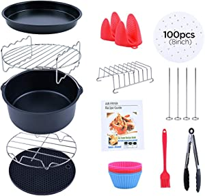 Air Fryer Accessories,Accessories Set of 13 Fit all 4.2QT 5.3QT 5.5QT 5.8QT or Larger Deep Air Fryer,Magnetic Cheat Sheet for Gowise Ninja Cosori Cozyna Philips Power, Dishwasher Safe,Nonstick Coating