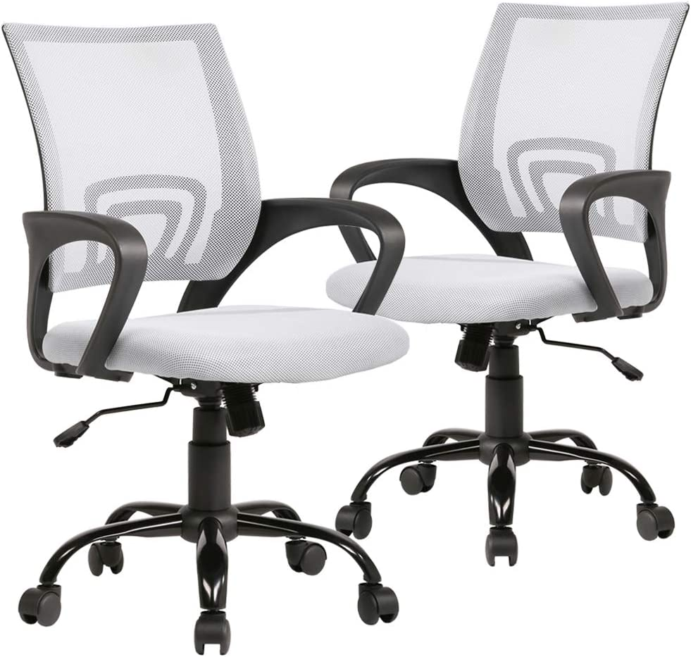 Set of 2 Ergonomic Office Chair Desk Chair Mesh Executive Computer Chair Lumbar Support for Women, Men White