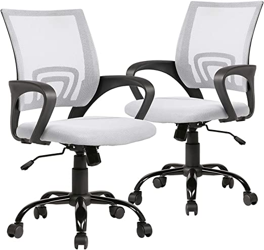 Amazon Com Ergonomic Office Chair Desk Chair Mesh Computer Chair Back Support Modern Executive Adjustable Rolling Swivel Chair For Women Men White 2pc Home Kitchen