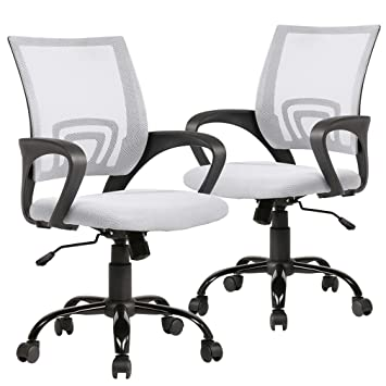 Astounding Ergonomic Office Chair Desk Chair Mesh Computer Chair Back Support Modern Executive Adjustable Rolling Swivel Chair For Women Men White 2Pc Caraccident5 Cool Chair Designs And Ideas Caraccident5Info
