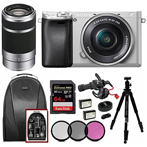 Sony Alpha a6300 Silver w/ 16-50mm & 55-210mm Lens Mic Bundle For Sale