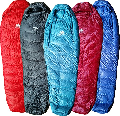 Ultralight Down Mummy Sleeping Bag (Hyke & Byke Ultralight Down Sleeping Bag: 3 Season 32 Degree Mummy Bag Under 2 LBS - The Lightest, Highest Quality Bag for Thru Hiking, Backpacking, and Camping (Light Blue, Regular))