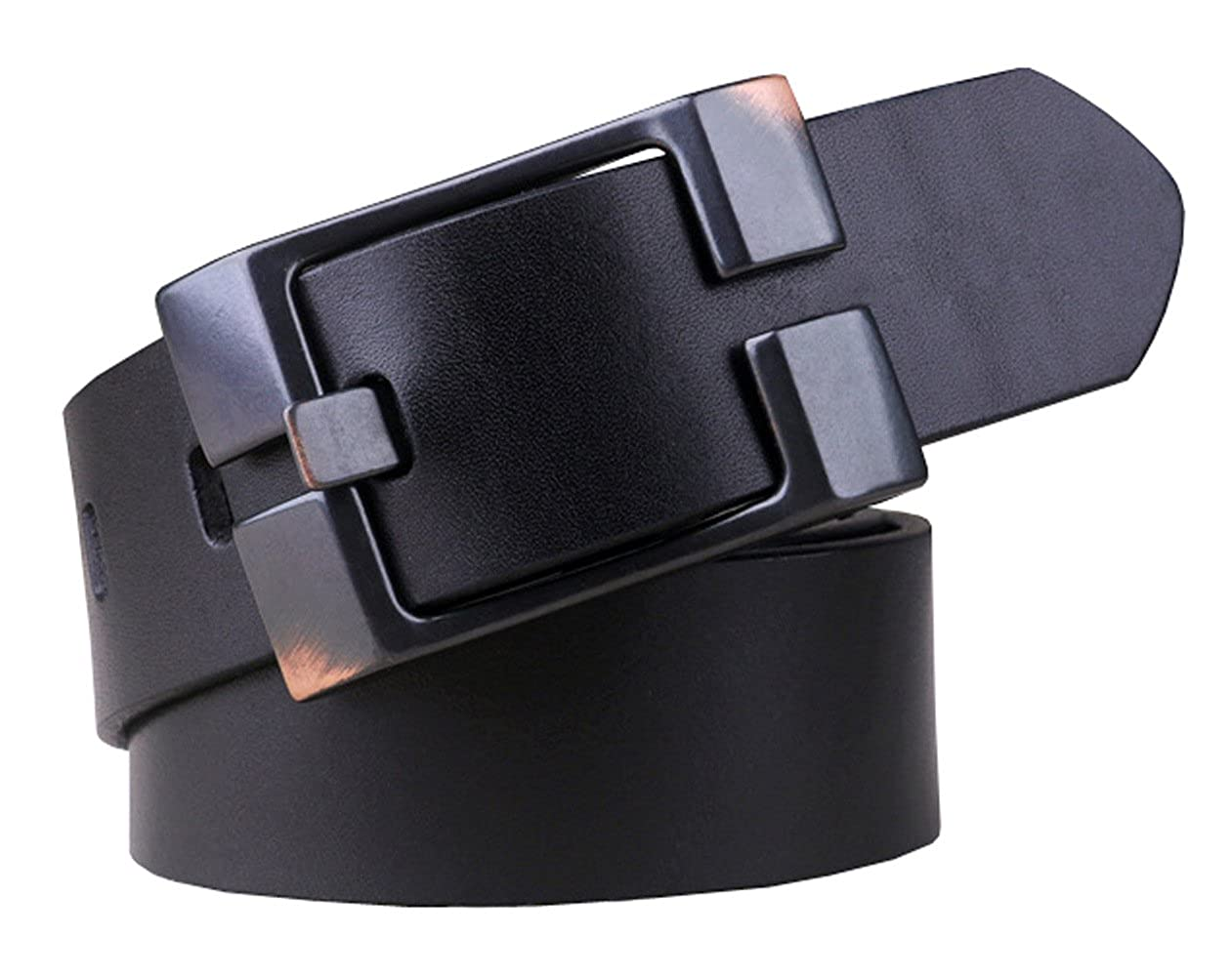 Capplue Casual Square Pin Buckle Mens Belts Full Grain Leather Belt Black Belt 38inch