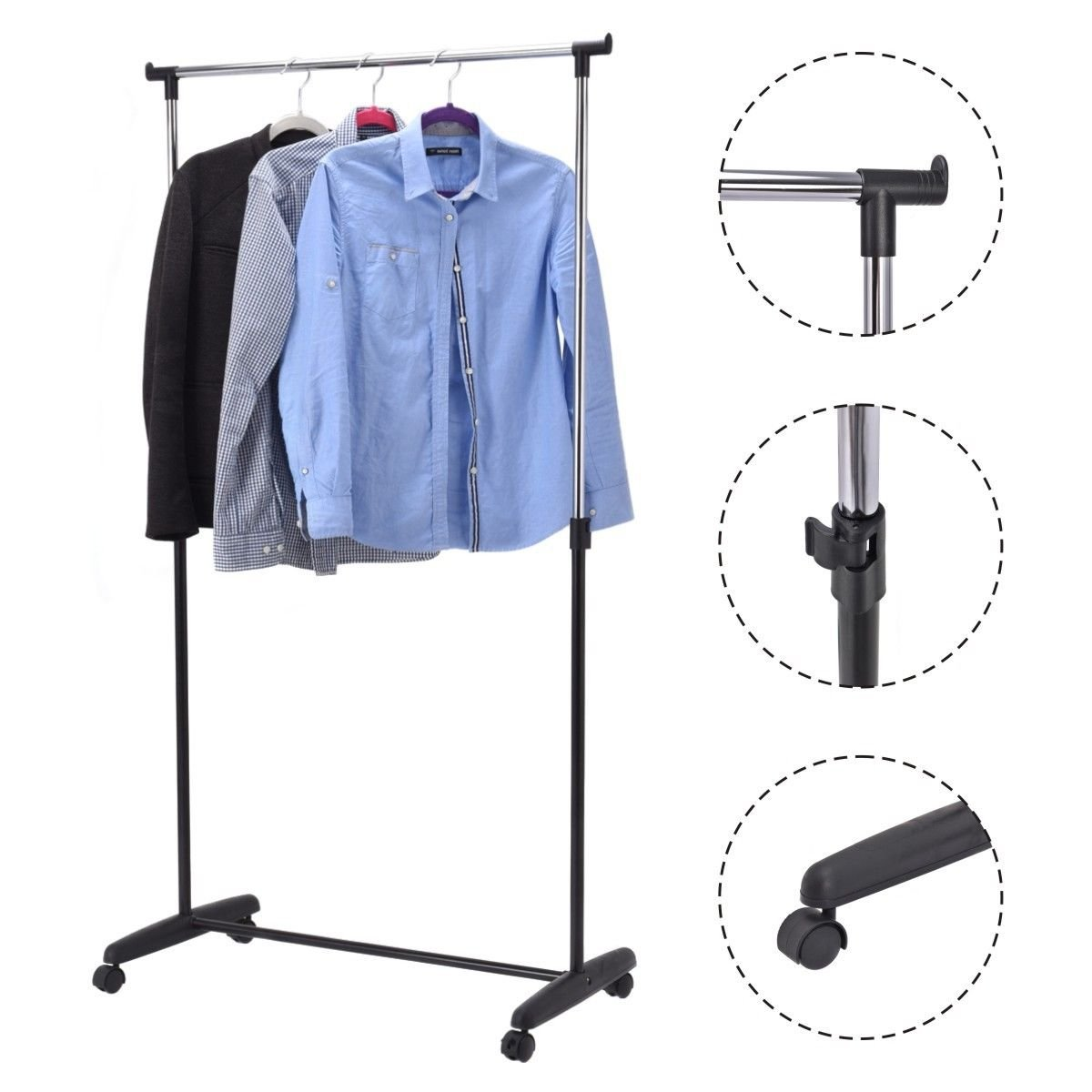 Safstar Adjustable Single Rod Garment Rack Rolling Hanging Rail Clothes Hanger Stand with Casters