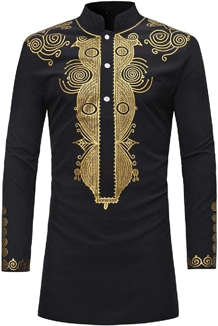 Yayu Mens African Print Pullover Top Long Sleeved T-Shirt Blouse
