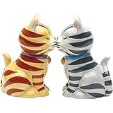 Striped Kissing Kittens Magnetized Tabby Cats Salt And Pepper Shaker Set