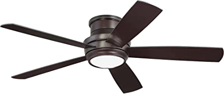 Amazon Com Craftmade Flush Mount Ceiling Fan With Led Light And Remote Tmph52ob5 Tempo 52 Inch Oiled Bronze Hugger Fan Home Improvement