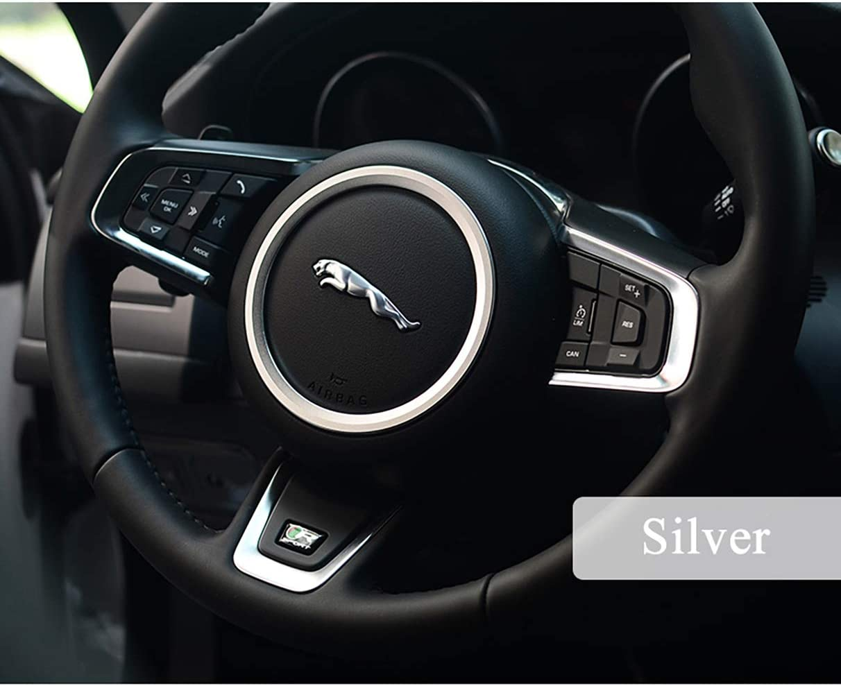 Car Interior Bling Accessories for Jaguar XJ F-pace F-Type XE XF Car Steering Wheel Logo Decorative Circle 3D Rhinestone Decals Ring Car Bling Accessories Suitable for Ladies Silver, B Style