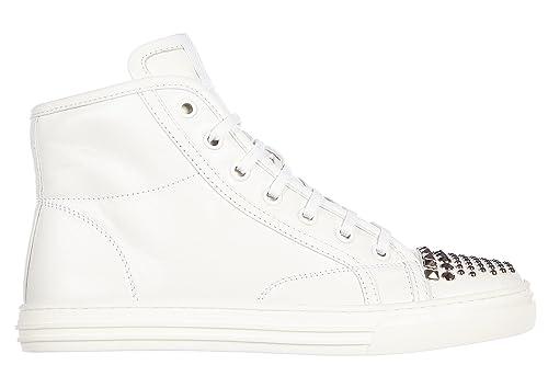Gucci Scarpe Sneakers Alte Donna in Pelle Nuove Nappa Moorea Studs Bianco   Amazon.it  Scarpe e borse 359d78f1d5f4