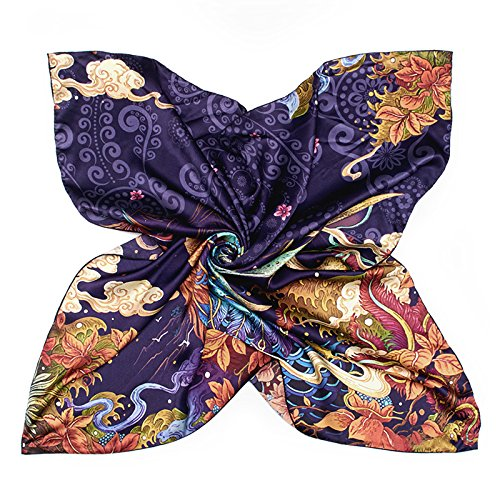 RENYZ.ZKHN Silk Scarf Girl Spring Fashion Retro Scarf Mulberry Silk Scarves Scarf Scarf Scarf All-Match Multifunction 88  88Cm
