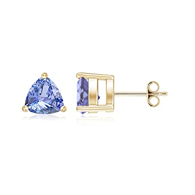 Angara Natural Tanzanite Basket Stud Earrings in White Gold YQhhUWs