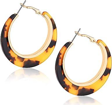 Tortoise Acetate Acrylic earrings Hoops pendant geometric Boho statement design