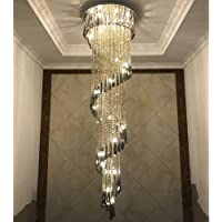 Zichen lighting LED Three Brightness K9 Crystal Chrome Mirror Stainless Steel Ceiling Lights Fixture Lamps Chandeliers…