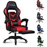 ALFORDSON Gaming Chair Racing Chair Executive Sport Office Chair with Footrest PU Leather Armrest Lumbar Cushion Home Chair (Gordon Red)