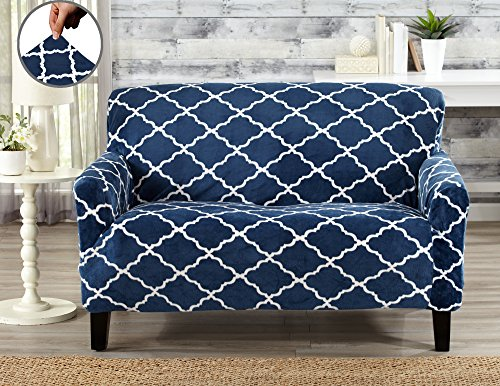 Childs Loveseat (Modern Velvet Plush Strapless Slipcover. Form Fit Stretch, Stylish Furniture Shield / Protector. Magnolia Collection Strapless Slipcover by Great Bay Home Brand. (Loveseat, Navy))