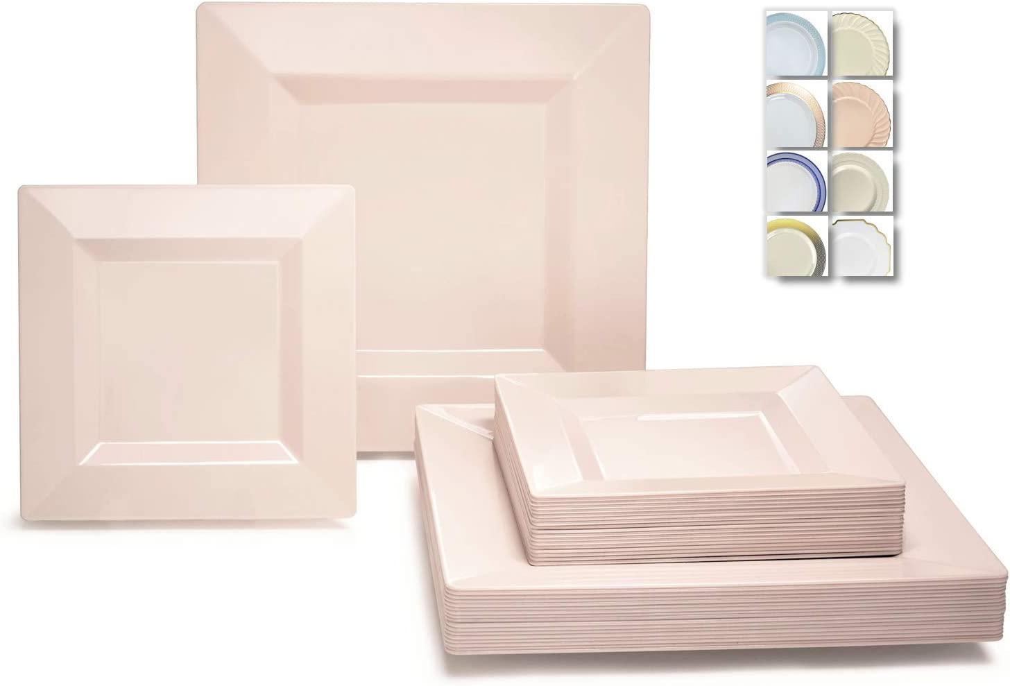 OCCASIONS 240 Plates Pack,(120 Guests) Wedding Party Square Disposable Plastic Plates Set -120 x 9.5'' Dinner + 120 x 6.5'' Dessert (Square Blush Pink) 617y2BDDQ15L