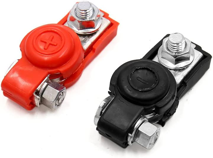 uxcell 2 Pcs 6V 12V Rubber Cover Car Auto Battery Positive Negative Terminal Clamp Connector