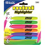 Bazic - Mini Highlighter with Cap Clip, 6 Different Colors (1-Pack of 6)