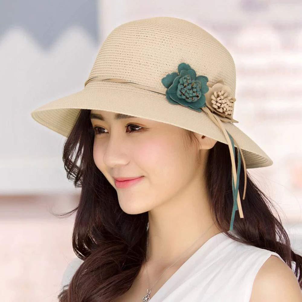 AIRUEEK Women Wide Brim Straw Hat Floppy Foldable Roll up Cap Beach Sun Hat UPF 50 UV Protection Sun Hat
