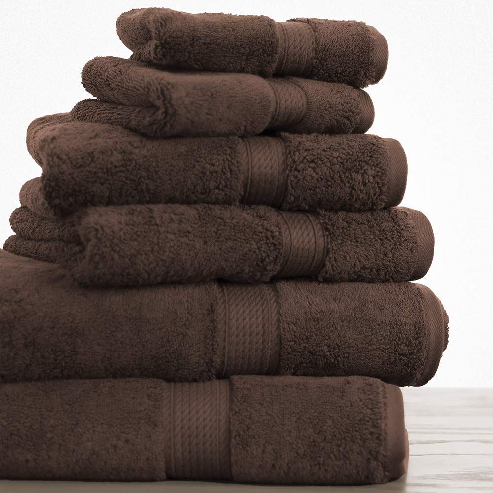 100% Long Staple Cotton Towel Set - 900 GSM Heavy Weight Super Absorbent Towels - 6 PC Set Includes 2 Bath Towels, 2 Face Towels & 2 Wash Cloths - 7 Colors Available - Chocolate