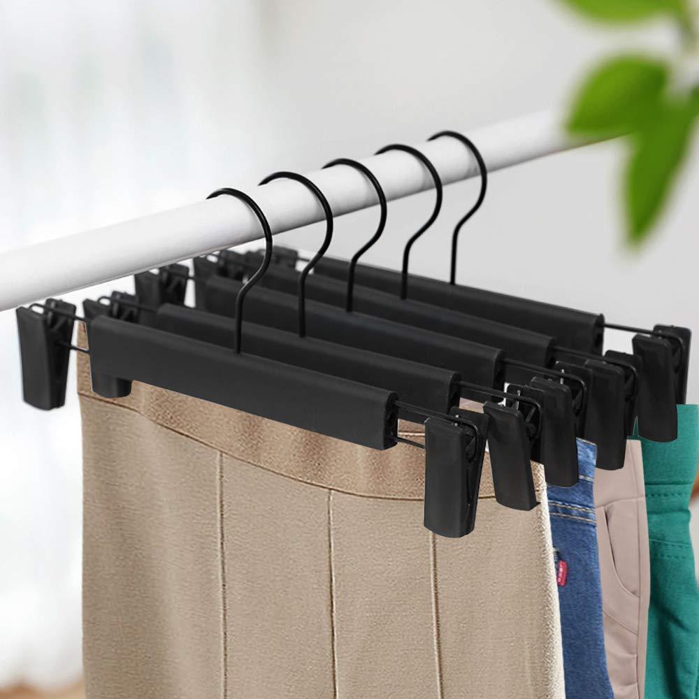 Perchas con Clips Ajustables Antideslizantes Perchas para Faldas 20 Unidades Perchas para Pantalones Perchas para Pantalones GoodtoU Color Negro