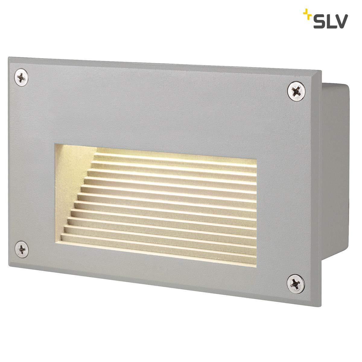 Lampada da parete di mattoni SLV LED Downunder LED bianco caldo 229.702 rettangolare grigio argento