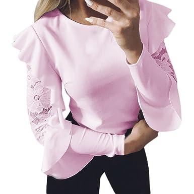 47fbe80b9592dc Ulanda Damen Teenager Mädchen Langarmshirt Bluse mit Floraler Spitze Slim Shirts  Spitzenshirt Pulli Pullover T-Shirt Hemd Langarm Oberteile Tops mit Volant  ...