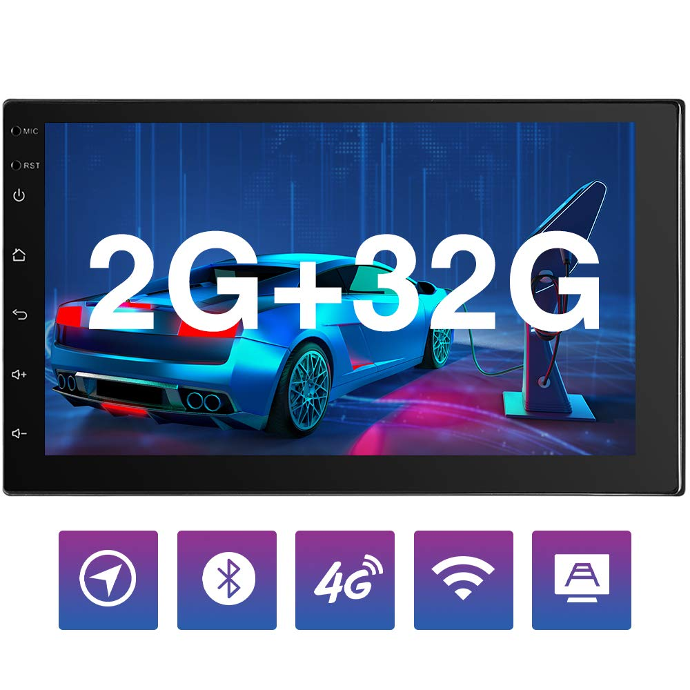 32GB FM//AM 2 Din Head Unit Touchscreen Indash Stereo Double Din Car Stereo WiFi GPS USB Backup Camera Car Stereo Bluetooth 4G SIM Card 7 Android Car Radio 2GB