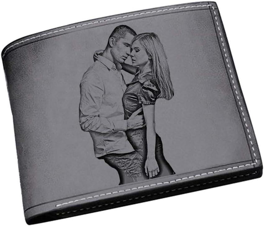 Billetera Personalizada Foto Grabada Billetera De Cuero Billetera para Hombre Regalo del Día del Padre(Negro De un Solo Lado)