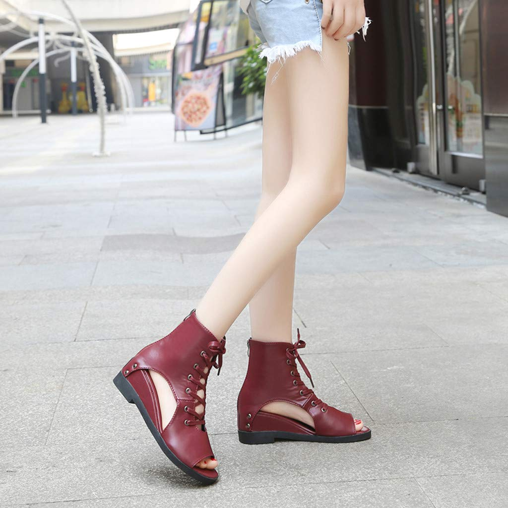 LOVOZO Women Front Lace-Up British Wind Wedge Heel Fish Mouth Roman Shoes Casual Shoes