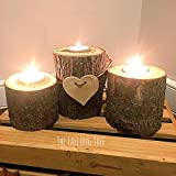 10 Sets of 3 Tiered Real Log Wood Tea Light Candle Holders With Hand Cut Wooden Heart Perfect for Rustic Weddings!